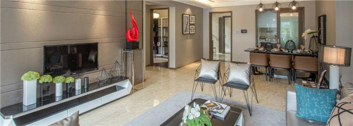 清爽现代90平二居室客厅背景墙装修效果图