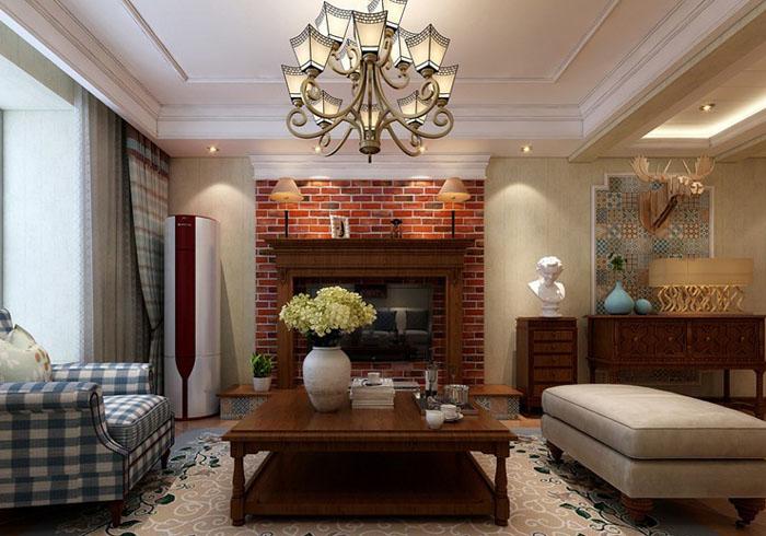 休闲自然美式100平二居室餐厅吊顶装修效果图