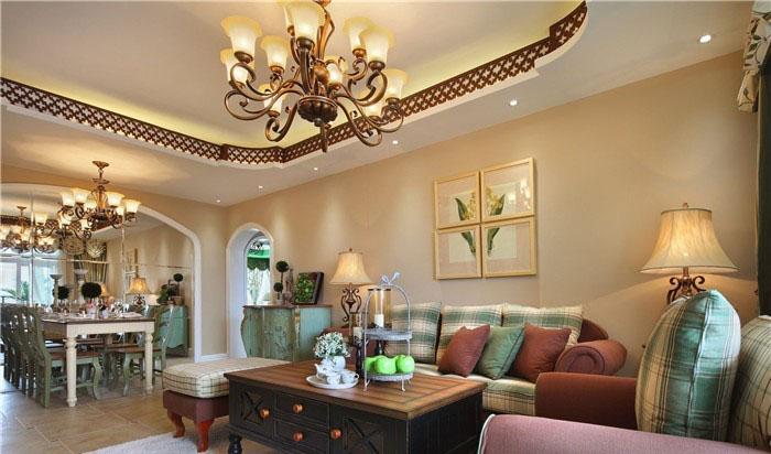 自然温馨田园100平二居室客厅吊顶装修效果图