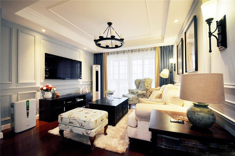 优雅透亮美式90平二居室客厅背景墙装修效果图