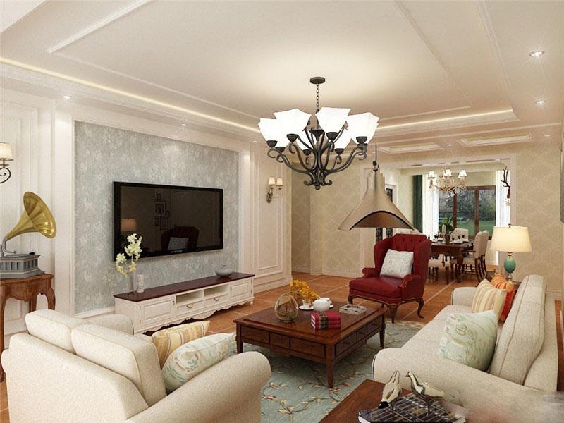 温暖美式90平二居室客厅电视背景墙装修效果图