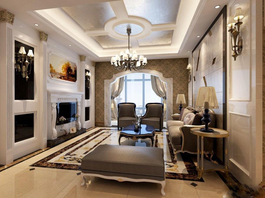 时尚精致新古典110平三居室客厅吊顶装修效果图