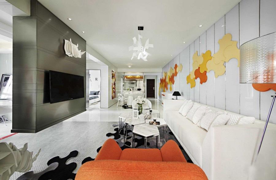 青春活力的现代简约60平米二居室卧室背景墙装修效果图