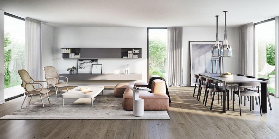 时尚明朗的现代简约60平米二居室客厅背景墙装修效果图