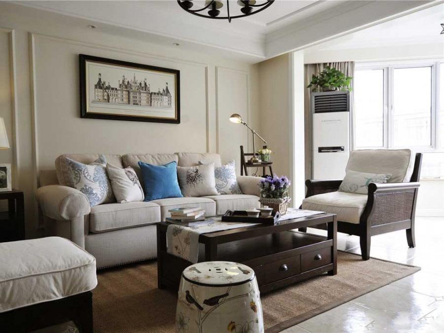 开阔舒适美式风格130平米三居室卧室背景墙装修效果图