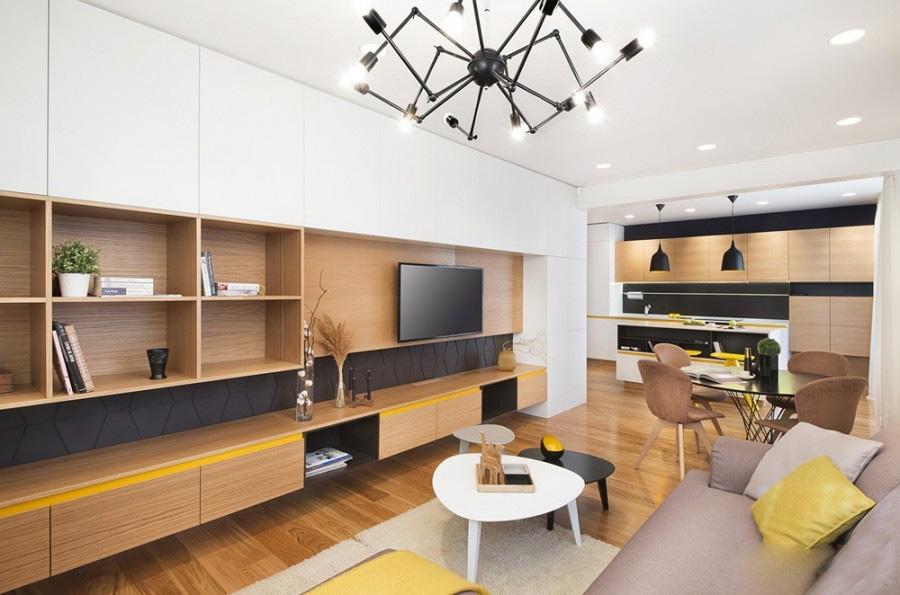 缤纷的现代简约60平米二居室客厅吊顶装修效果图