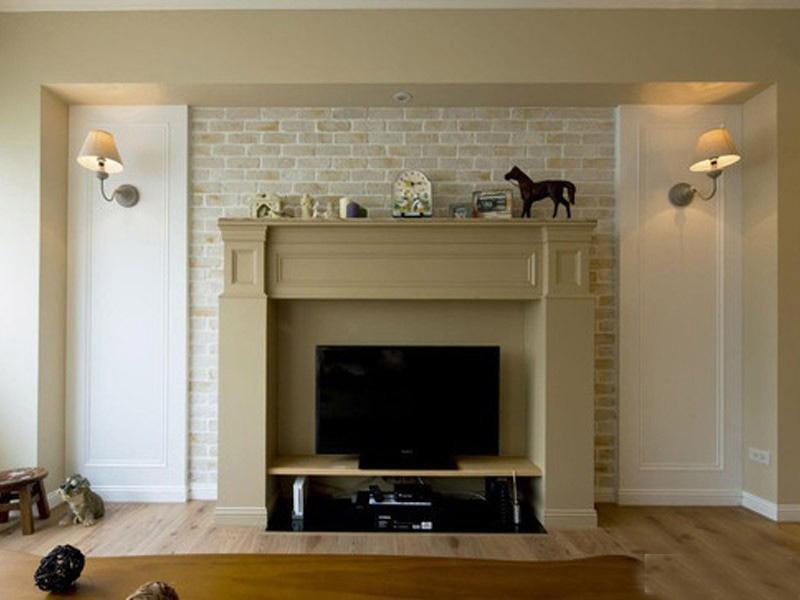 简美活泼美式风格110平米三居室客厅电视背景墙装修效果图