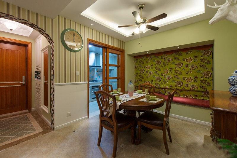 自然美式90平二居室客厅背景墙装修效果图
