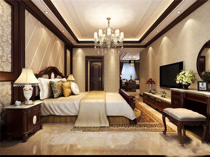 优雅贵气新古典100平三居室客厅电视背景墙装修效果图