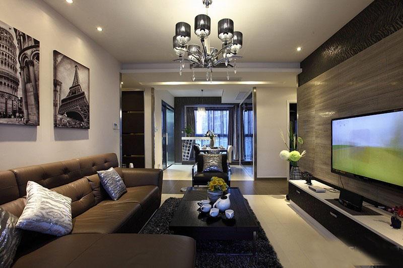 时尚前卫现代100平二居室客厅装修效果图