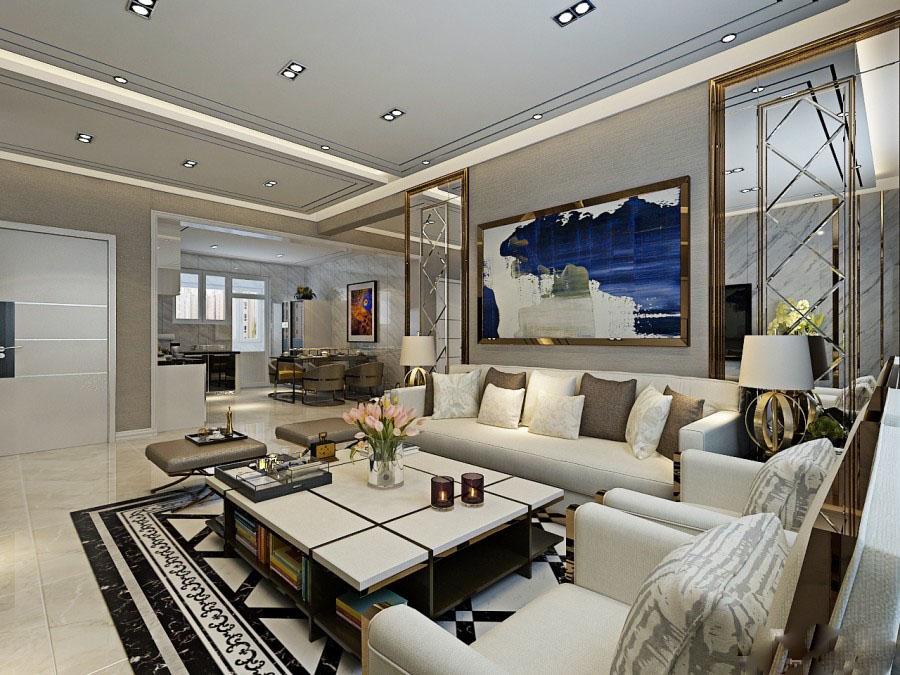 时尚现代100平二居室客厅电视背景墙装修效果图