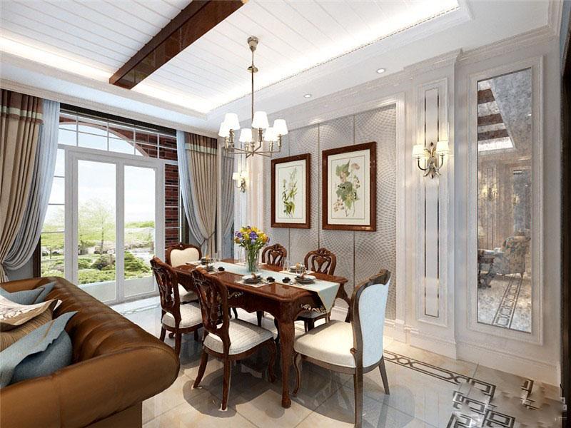 精致优雅美式110平三居室客厅电视背景墙装修效果图