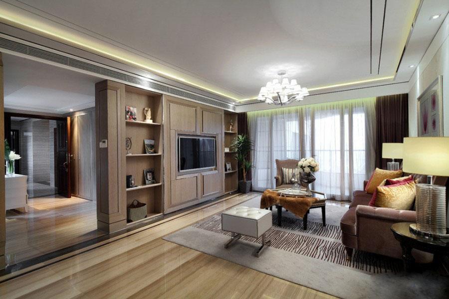 时尚明快新古典120平四居室客厅电视背景墙装修效果图