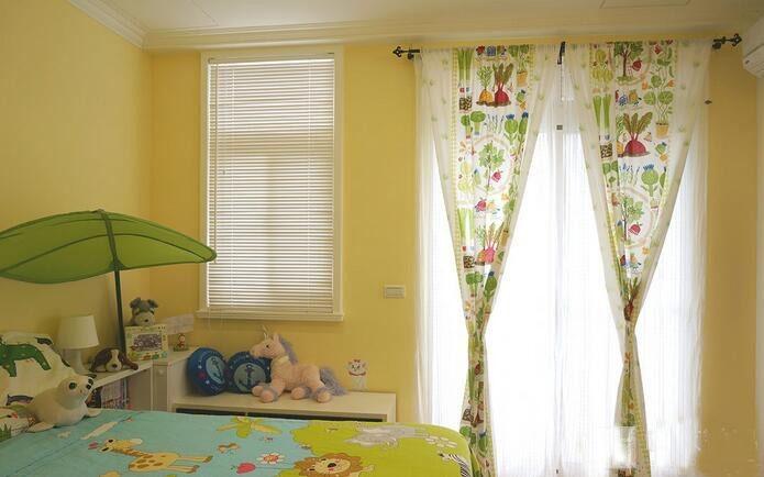 温馨和谐美式风格100平米三居室书房背景墙装修效果图