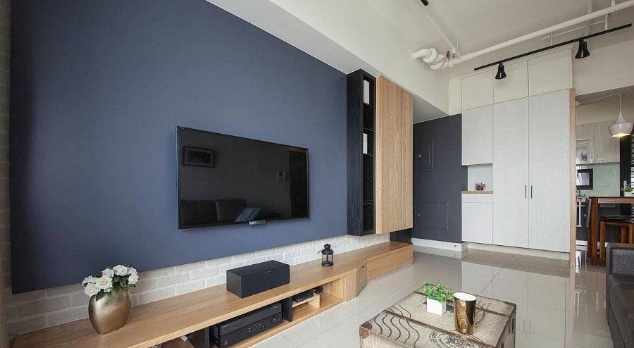 温馨美式风格90平米三居室客厅电视背景墙装修效果图