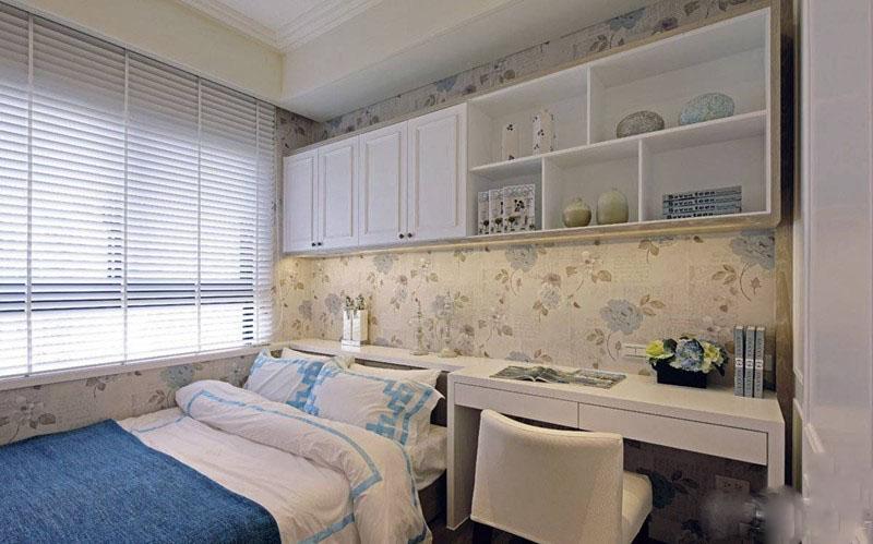 休闲舒适美式风格90平米三居室客厅背景墙装修效果图