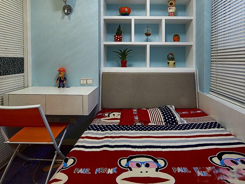 休闲浪漫美式风格90平米三居室卧室背景墙装修效果图