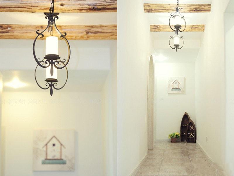 白色清新美式风格90平米三居室玄关过道装修效果图