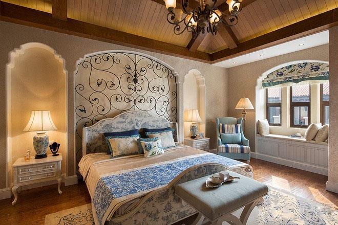 美式加州120平米三居室卧室背景墙装修效果图