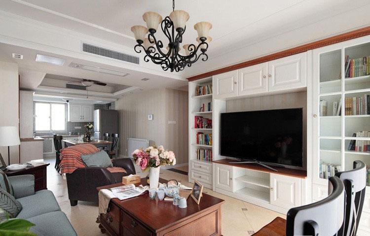 恬淡美式风格70平米三居室客厅电视背景墙装修效果图