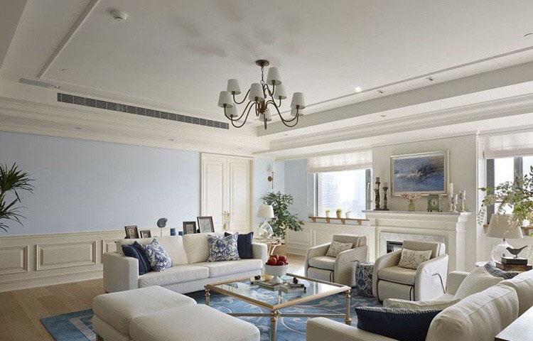 清新现代简约美式100平米三居室客厅吊顶装修效果图