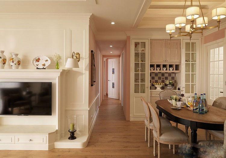 文艺美式风格60平米三居室客厅电视背景墙装修效果图