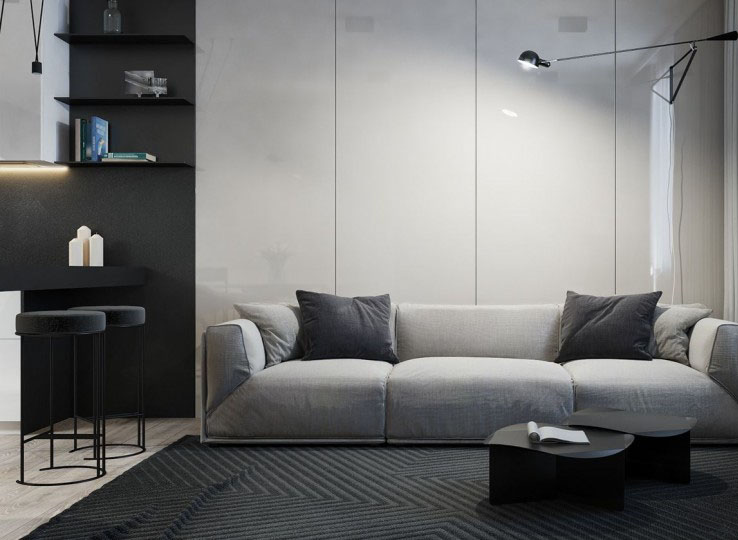 沉稳浪漫的现代简约80平米一居室客厅背景墙装修效果图
