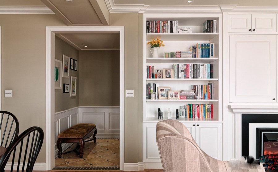 和谐简约美式风格60平米三居室客厅吊顶装修效果图