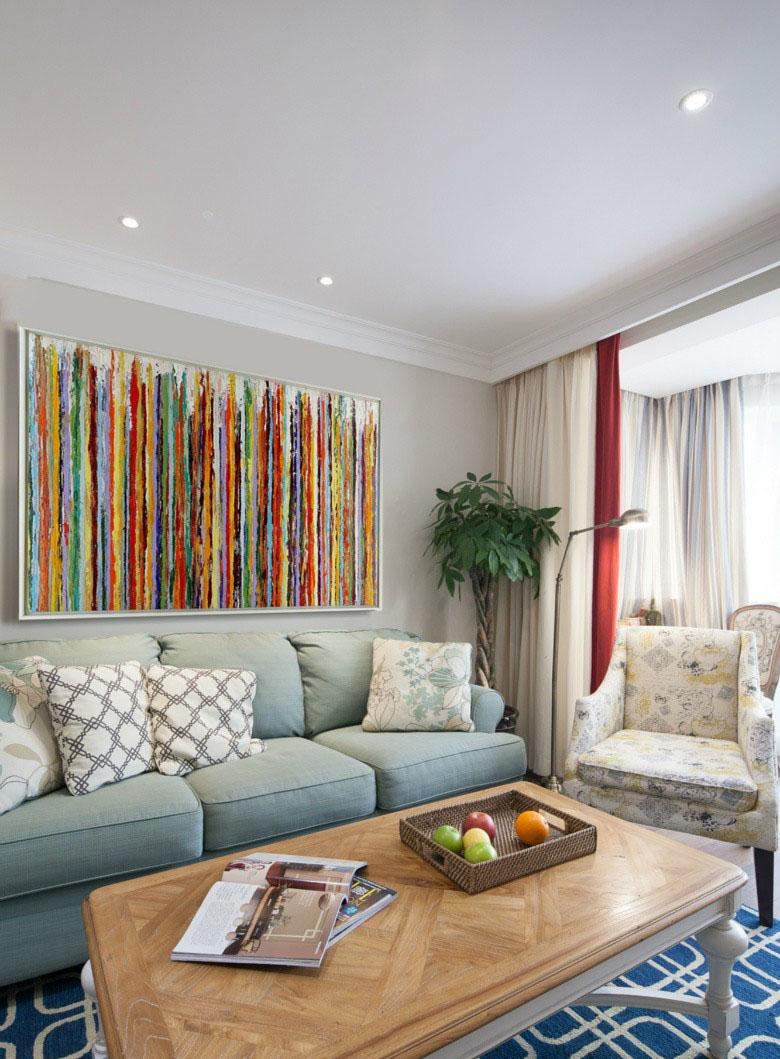 抽象立体美式风格60平米三居室客厅背景墙装修效果图