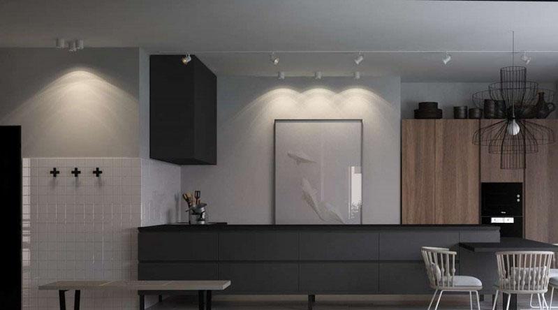 灰色别致的现代简约80平米一居室厨房装修效果图