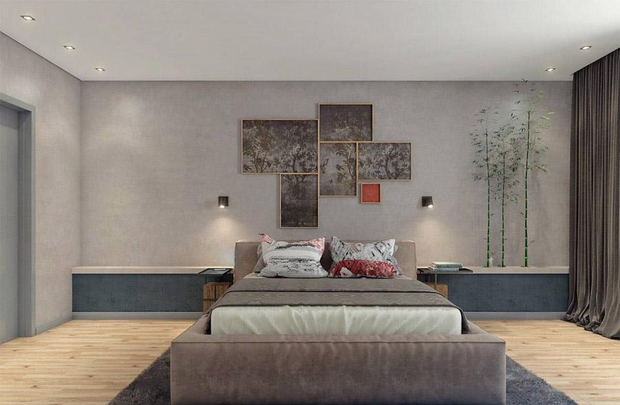 清新自然的现代简约60平米一居室卧室背景墙装修效果图