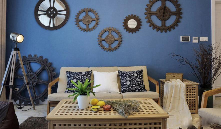现代简约风格男士个性90平三居室文艺卧室背景墙装修效果