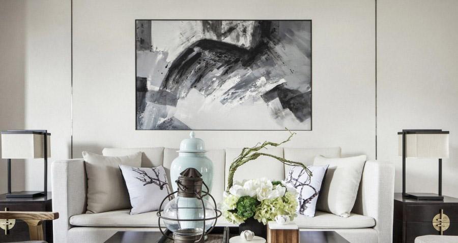 大气雅致的中式90平二居室客厅背景墙装修效果图