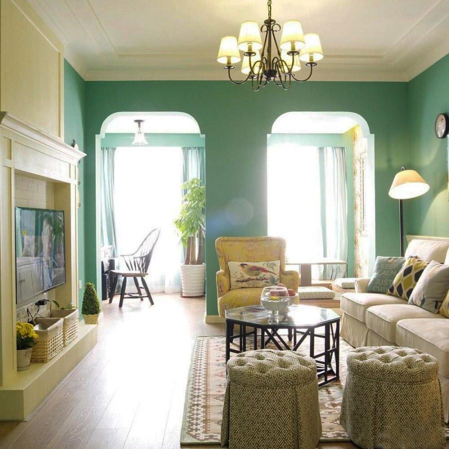 清静温暖美式风格60平米三居室客厅吊顶装修效果图