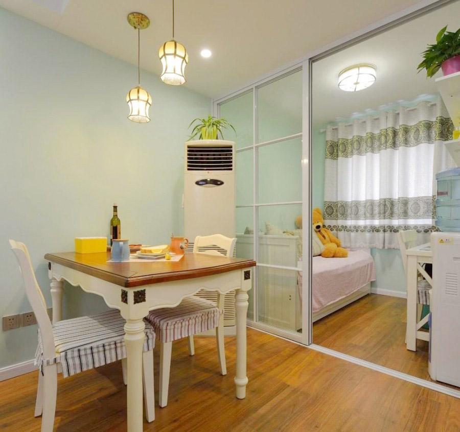 粉系舒适美式风格90平米二居室客厅电视背景墙装修效果图
