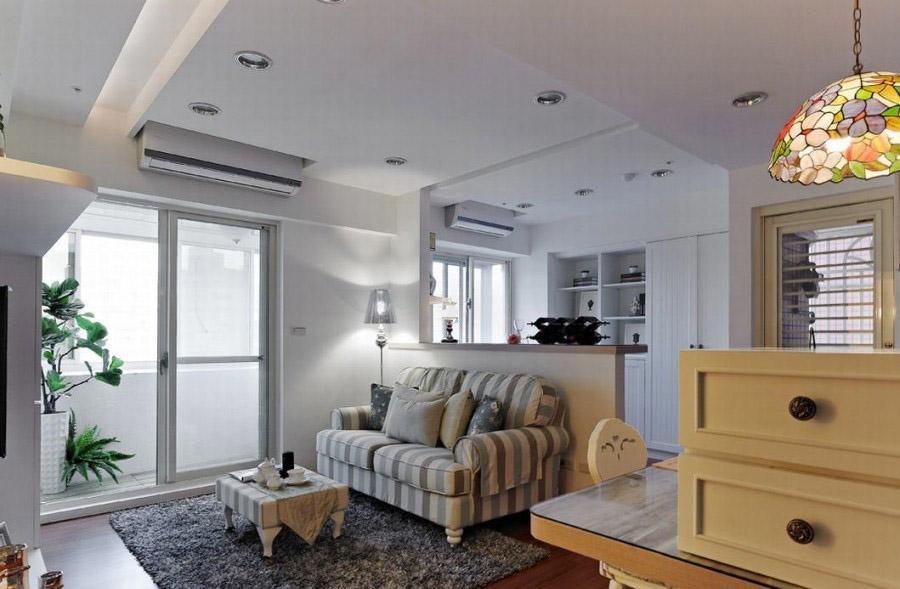 浪漫田园乡村风格60平一居室客厅隔断装修效果图