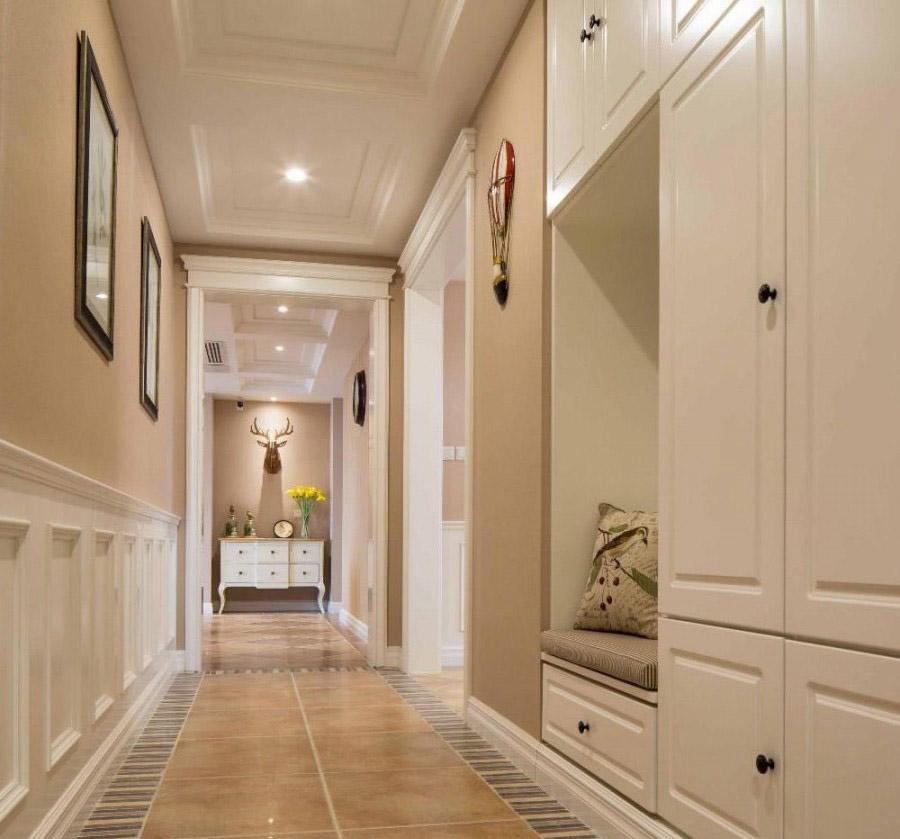 轻混搭美式风格100平米二居室客厅吊顶装修效果图