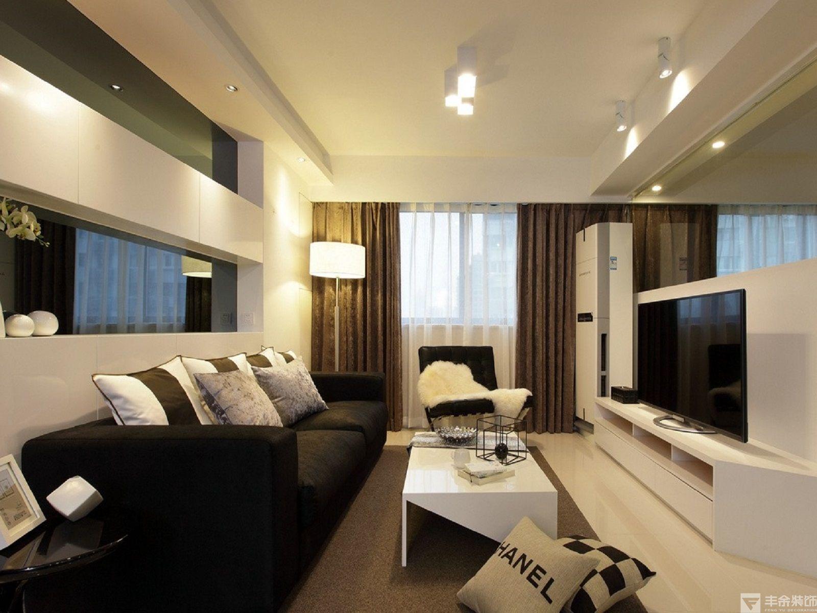 后现代几何风格109平米二居室客厅电视背景墙装修效果图