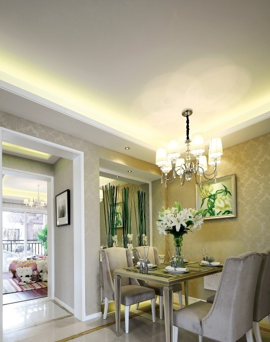 现代欧式混搭风格130平三居室餐厅吊顶装修效果图