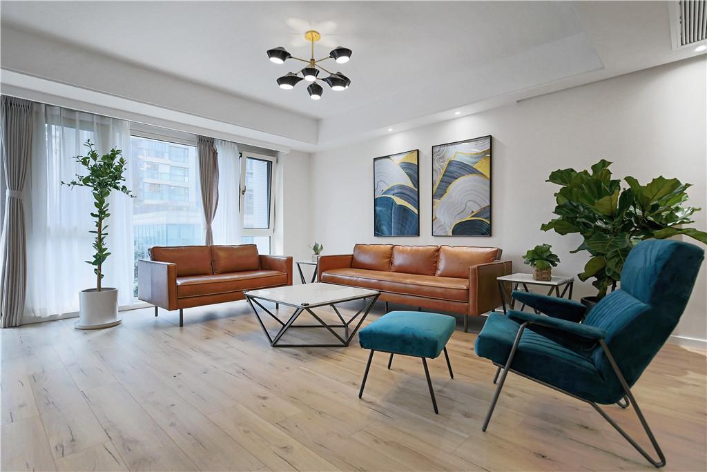 现代简约135平三室一厅客厅装修效果图