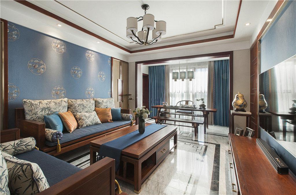 新中式风格120平三室一厅客厅装修效果图
