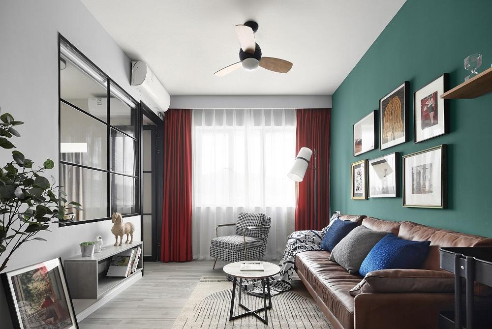 现代风格90平两室一厅客餐厅一体式效果图