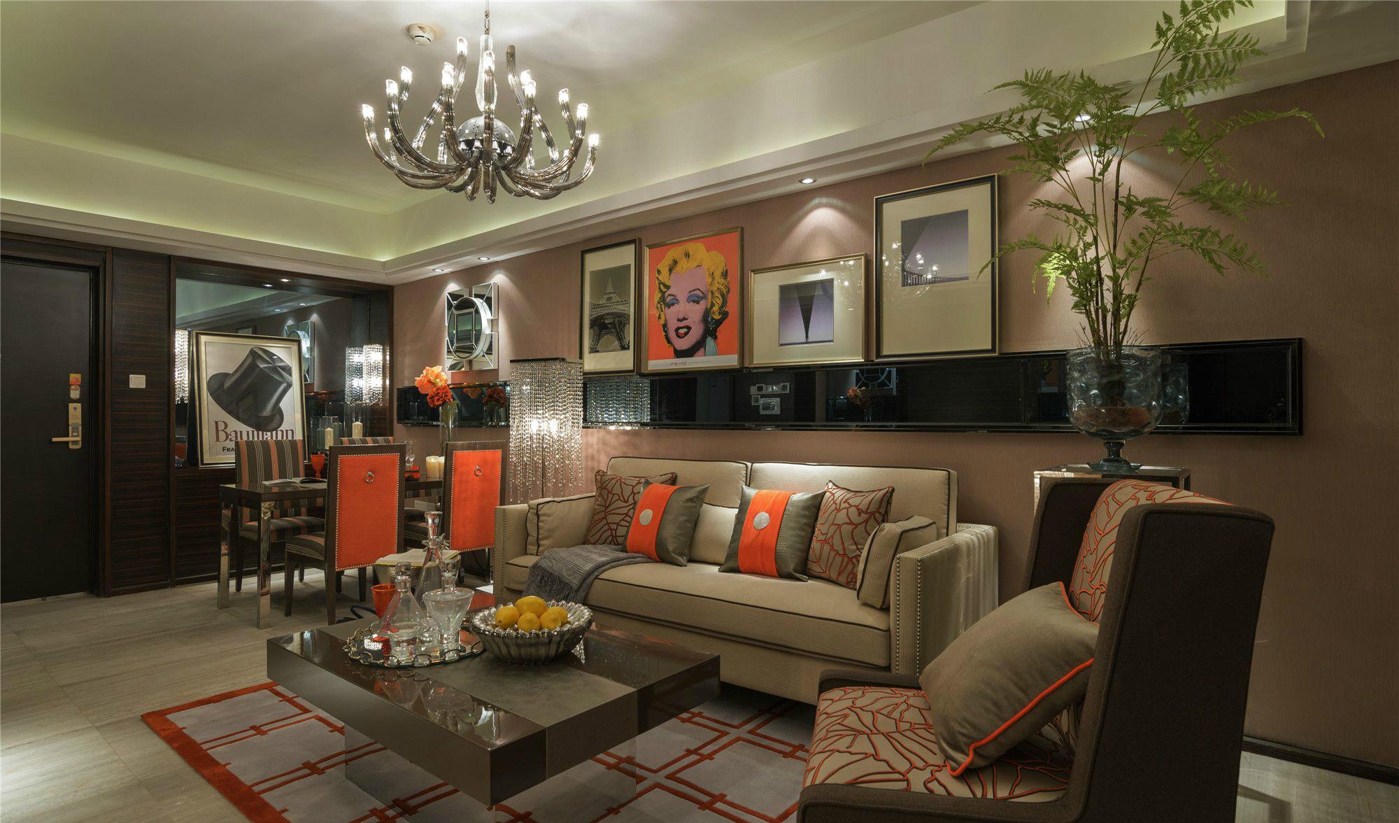 欧式风格100平两室一厅客厅装修效果图