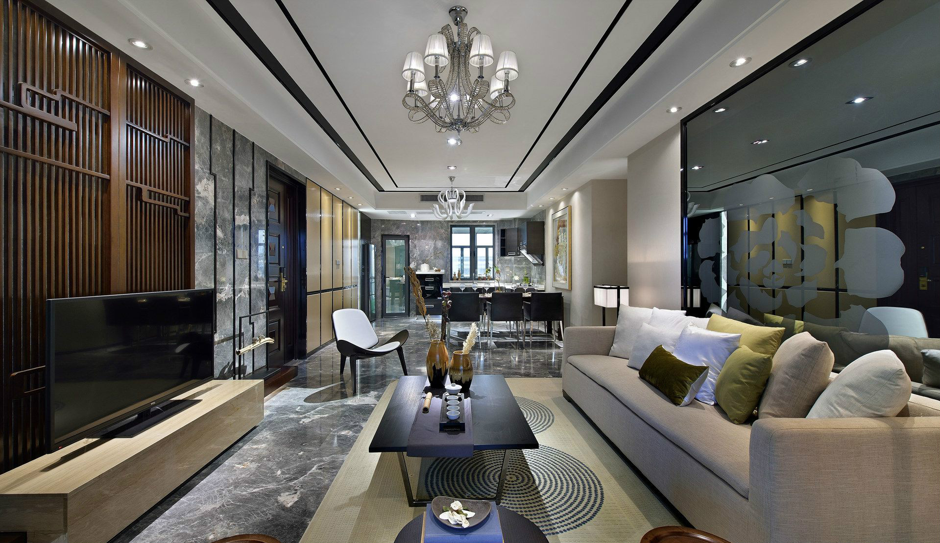 新中式风格95平两室一厅客厅装修效果图