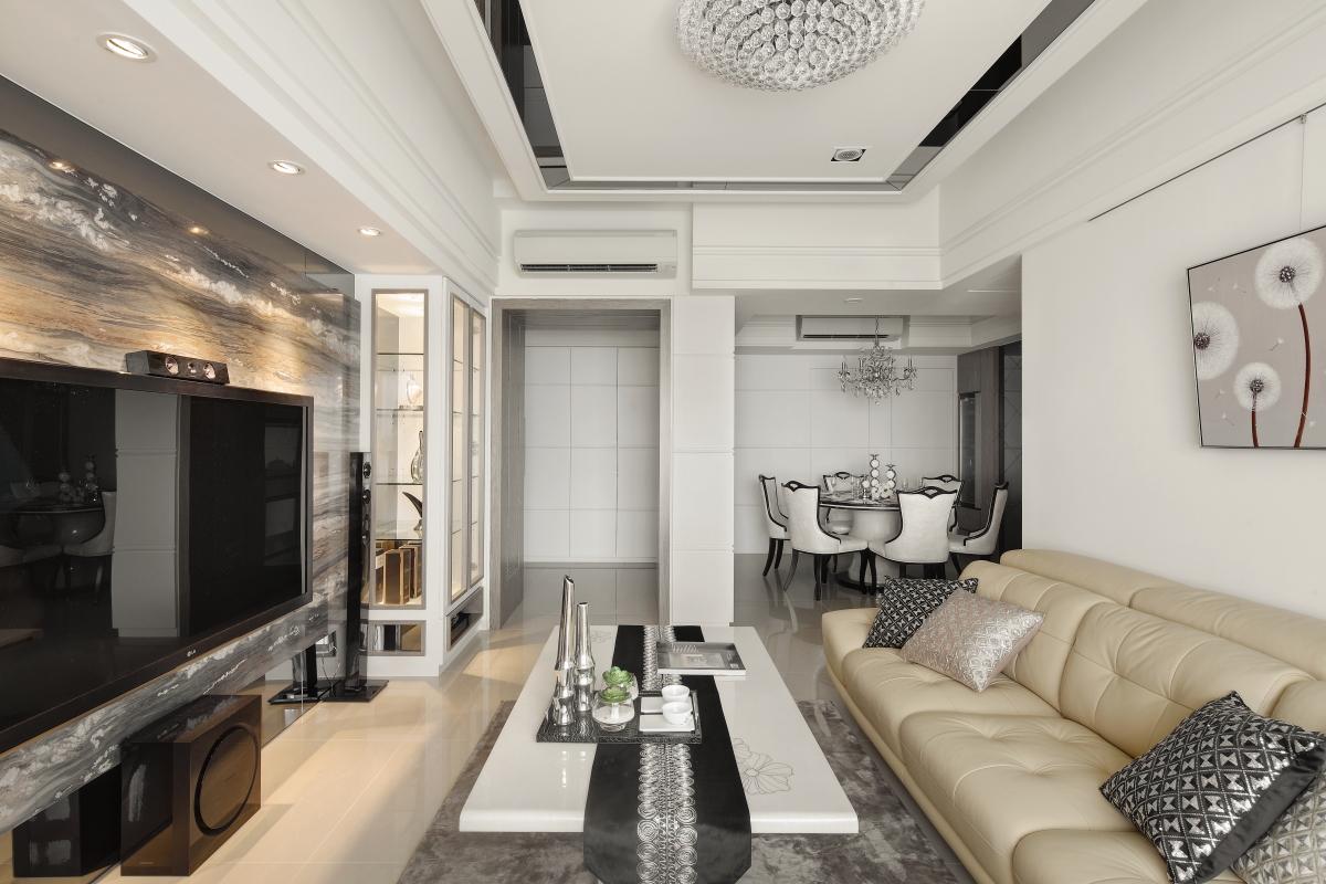 新古典风格118平两室一厅客厅装修效果图
