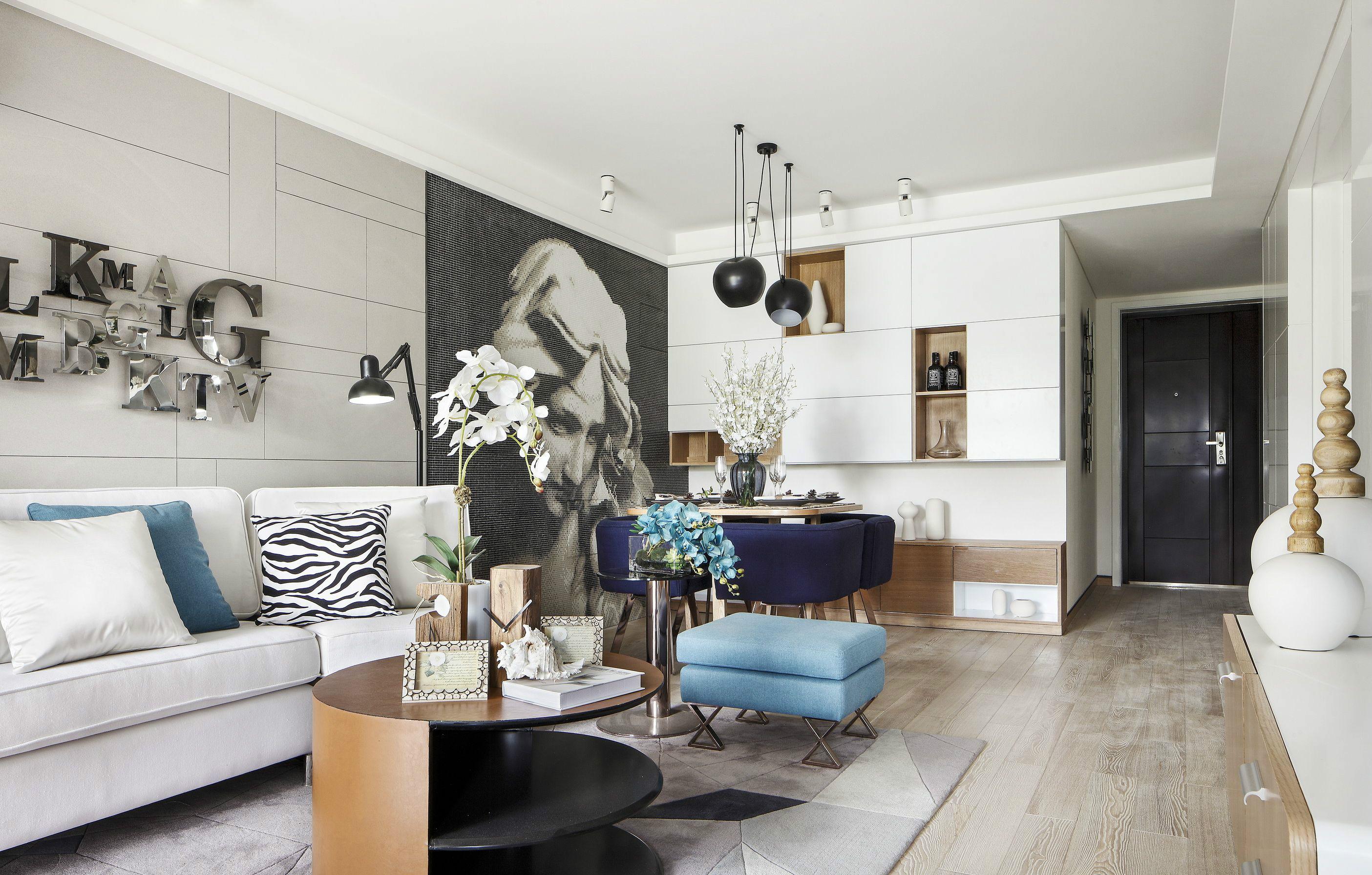 现代简约98平两室一厅装修效果图